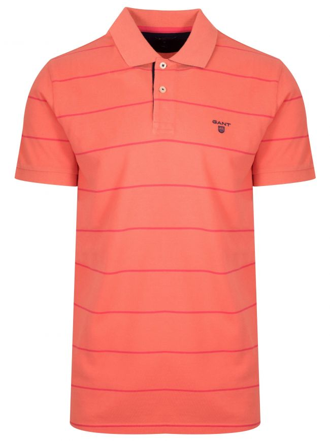 Coral Orange Striped Polo Shirt