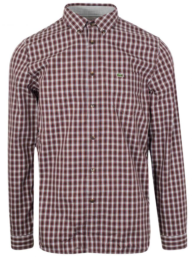 Long-Sleeved Navy & Red Check Shirt