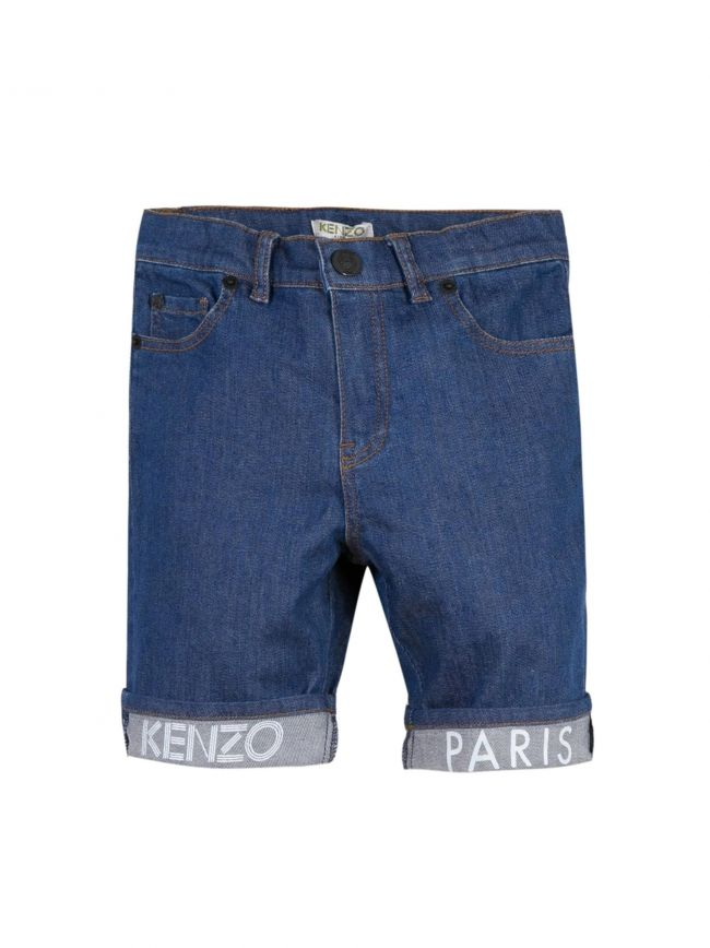 Blue Denim Logo Shorts