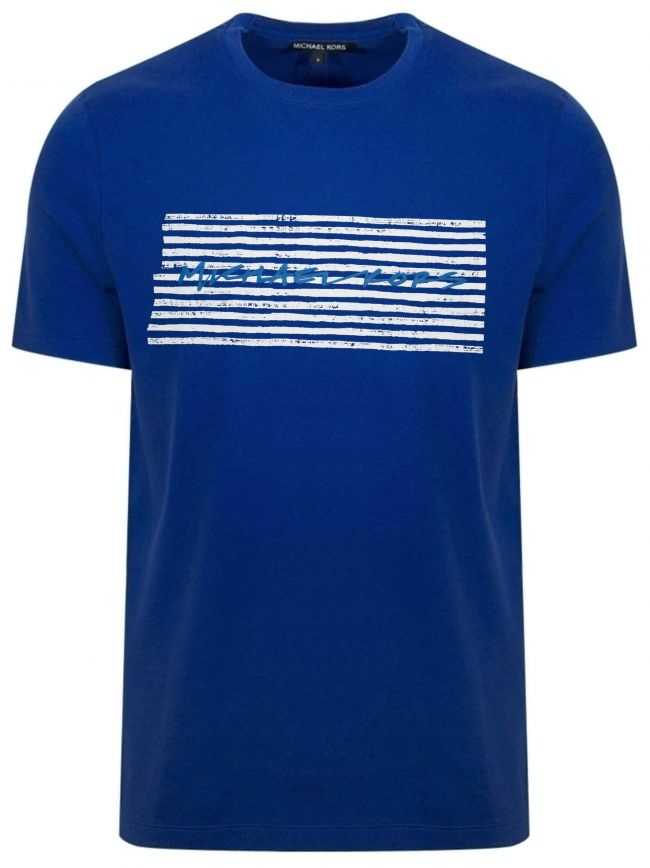 Royal Blue Marker Printed Logo T-Shirt