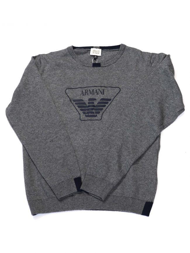 Armani Kids Grey Crew Neck Knitwear Sweatshirt