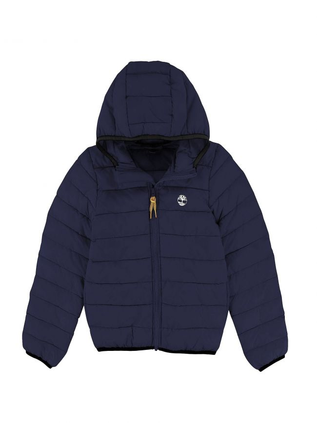Navy Hooded Packable Bubble Jacket