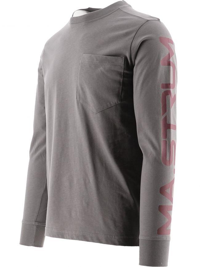Grey Long Sleeve Print T-Shirt