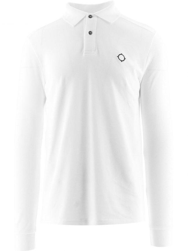 White Long Sleeve Pique Polo Shirt