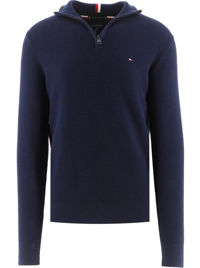 Navy Structure Zip Up Sweatshirt