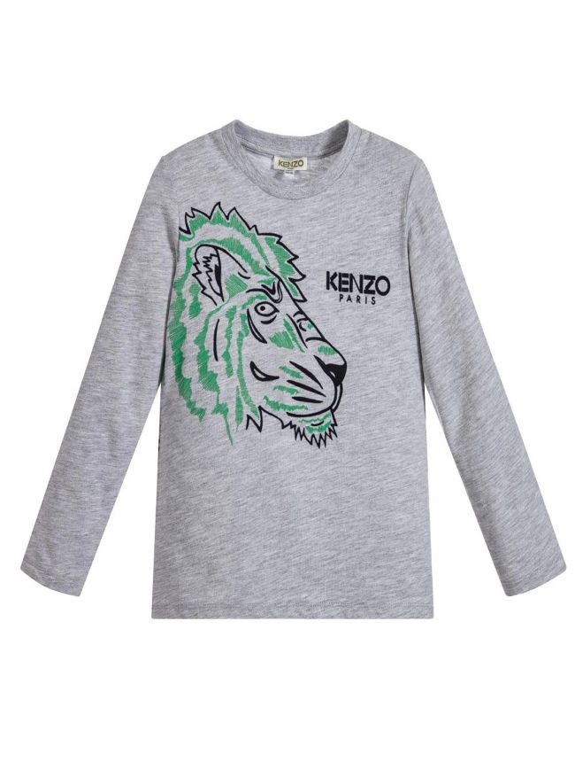 Side Logo Tiger Grey Sleeve T-Shirt