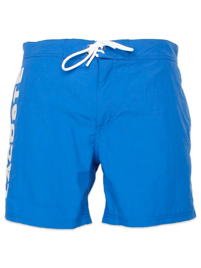 Delta Blue Poplin Lettering Swimming Shorts