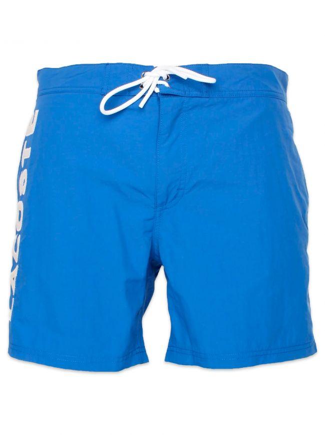 Delta Blue Poplin Lettering Swimming Shorts