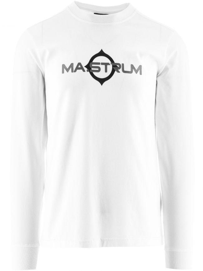 White Long Sleeve Logo Print T-Shirt
