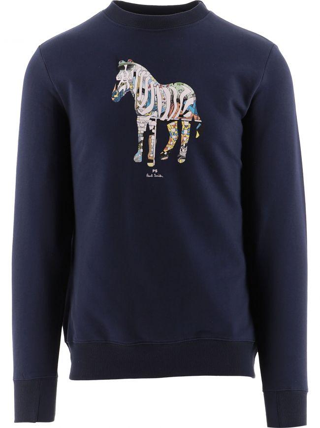 Navy Regular Fit Zebra Sweatshirt
