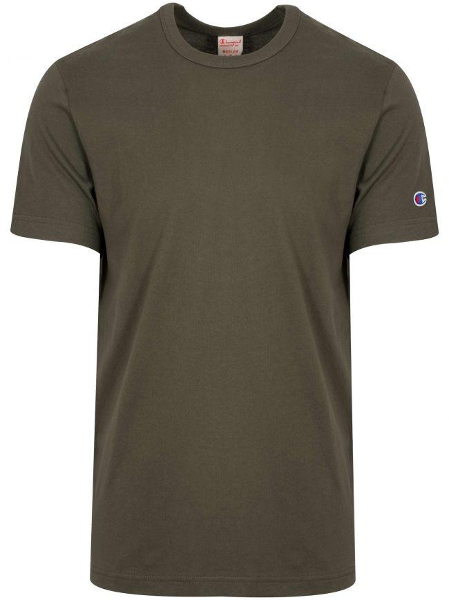 Reverse Weave Green Arm Logo T-Shirt