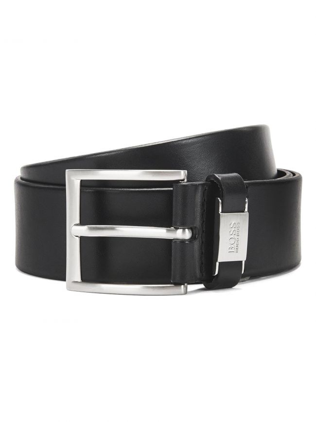 Black Pin Buckle Leather Connio Belt