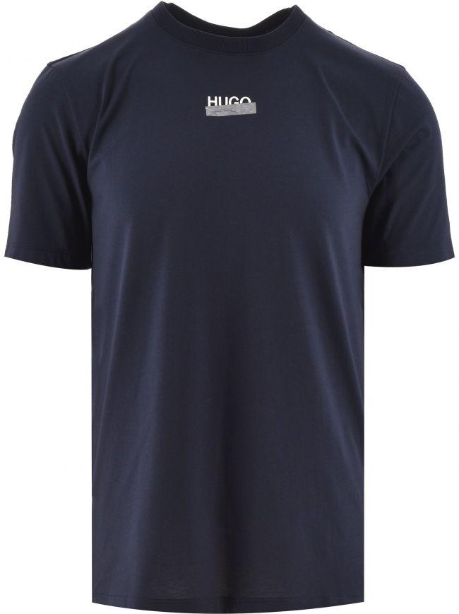 Navy Durned Hugo Tape Logo Tee