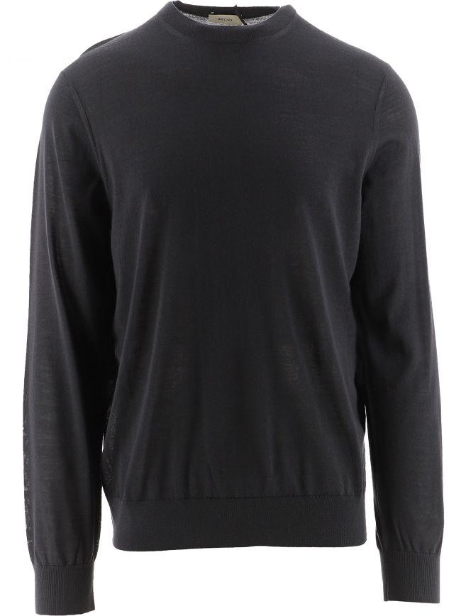 Grey Crew Neck Knitted Sweatshirt