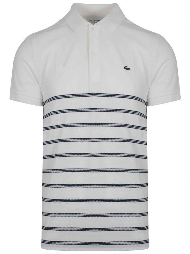 Cream & Navy Striped Polo Shirt