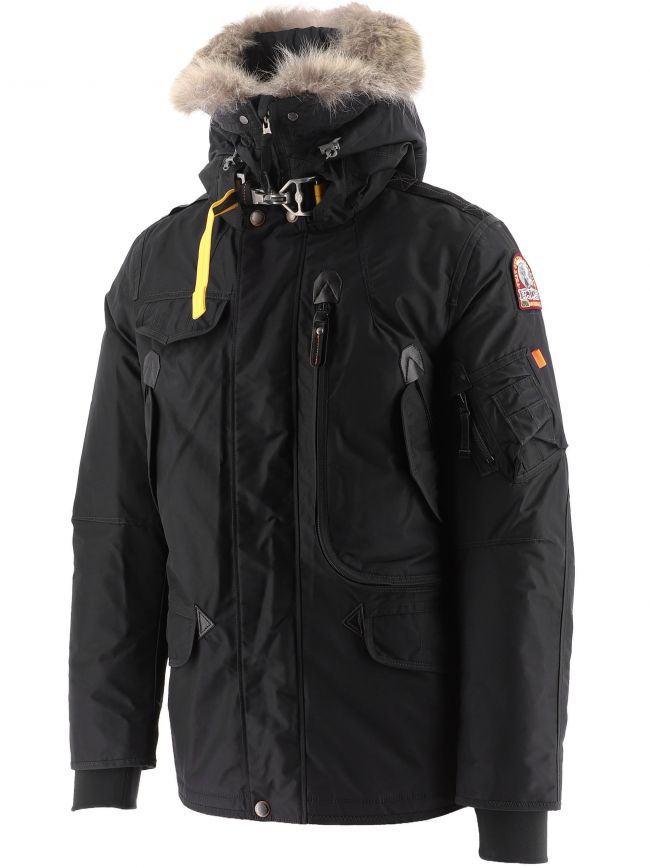 Black Right Hand Hooded Down Jacket