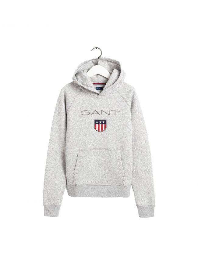 GANT Kids Light Grey Shield Logo Hoodie