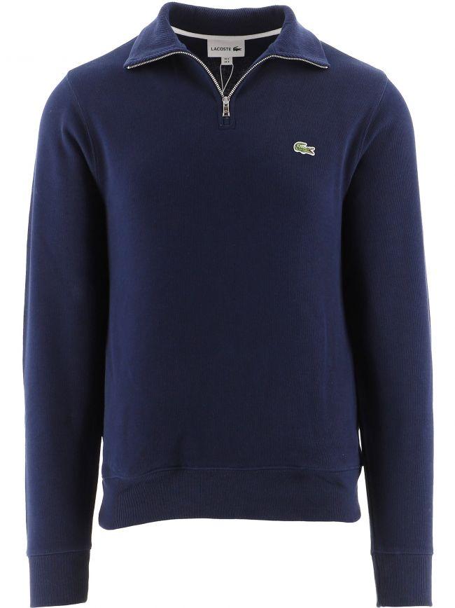 Navy Zippered Stand-Up Collar Cotton Sweatshirt