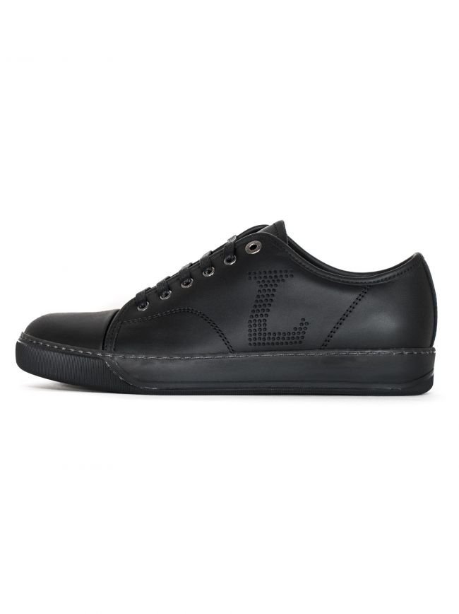 Black 'L' Napa Leather Toe Cap Sneakers