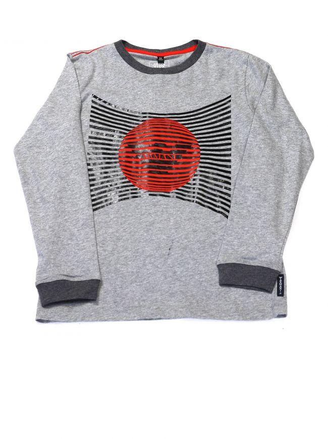 Armani Kids Grey Logo Long Sleeve Crew Neck T-Shirt