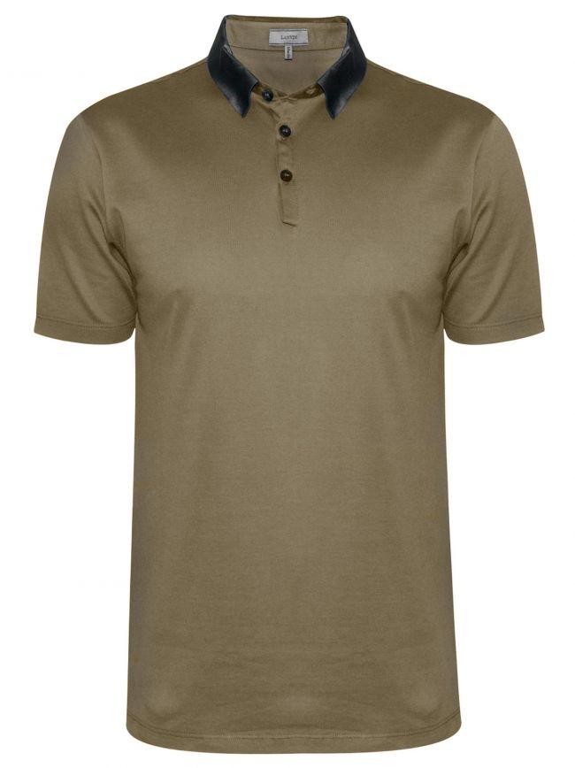 Beige Grosgrain Slim Fit Pique Polo Shirt