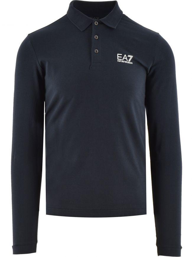 Navy Long Sleeve Cotton Polo Shirt