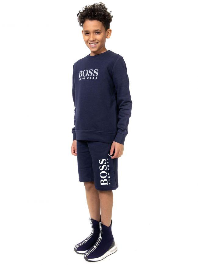 BOSS Kids Navy Classic Logo Sweatshirt