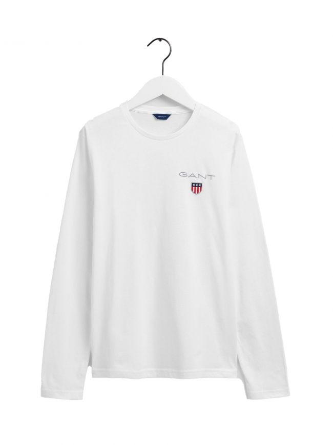 White Long Sleeve Shield Logo T Shirt