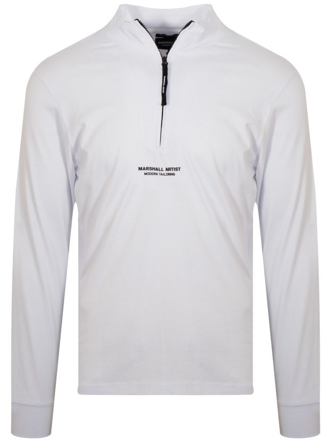 White Half Zip Jersey Top