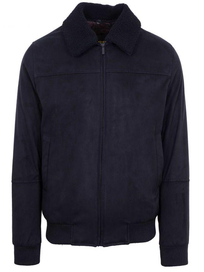 Navy Suede Shearling Collar Jacket