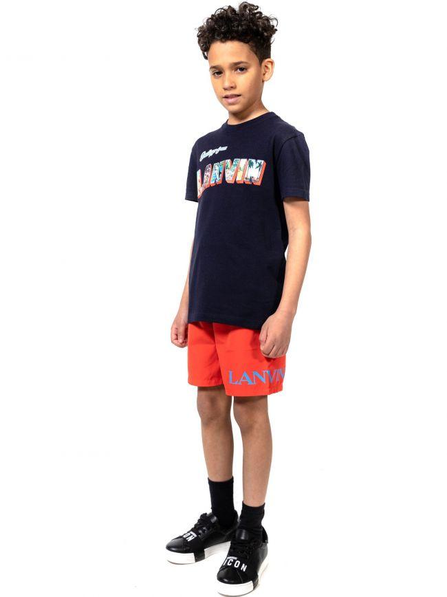Lanvin Kids Red Print Logo Swim Shorts
