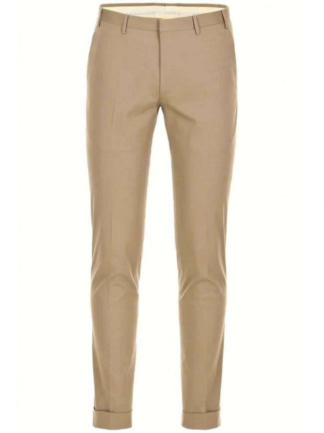 Beige Pleat Cotton Trousers