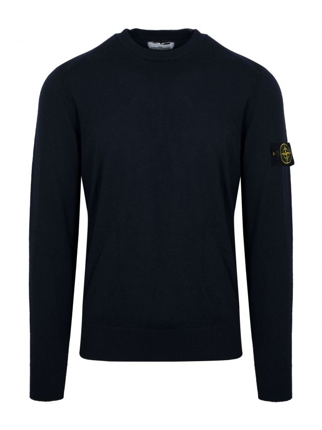 Navy Blue Crew Neck Wool Jumper
