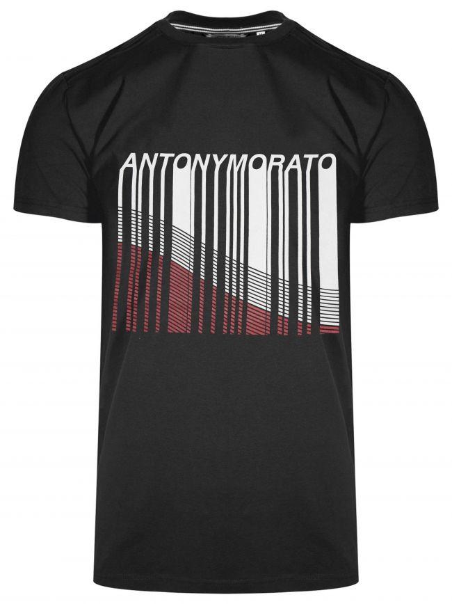Crew Neck Black Line Print Logo T-Shirt