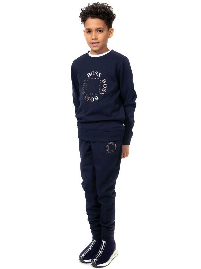 BOSS Kids Navy Logo Sweatshirt