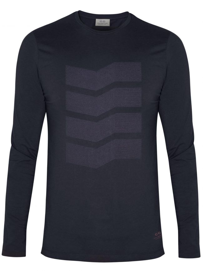 Navy Zig-Zag Long Sleeve T-Shirt