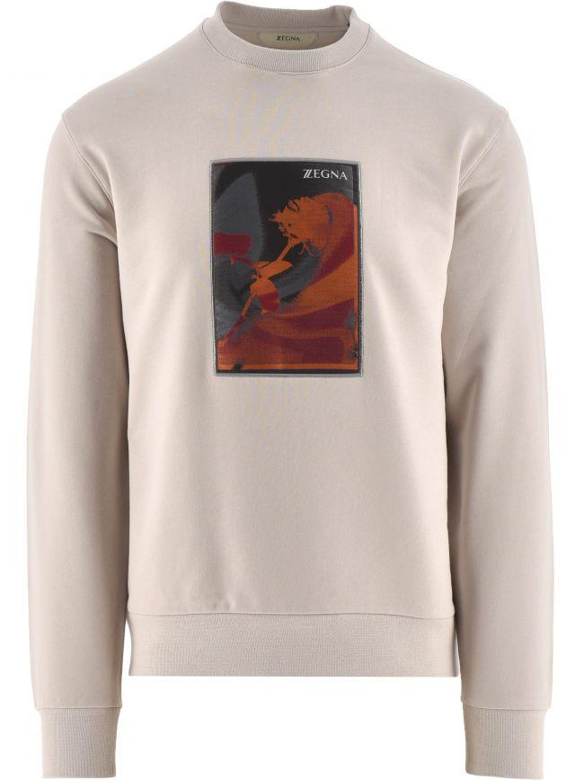 Beige Long Sleeve Crew Neck Logo Sweatshirt