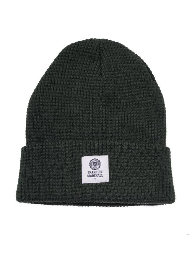 Green Waffle Knit Beanie Hat