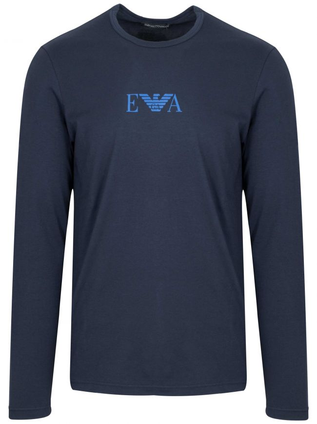 Navy Chest Logo Long-Sleeved T-Shirt