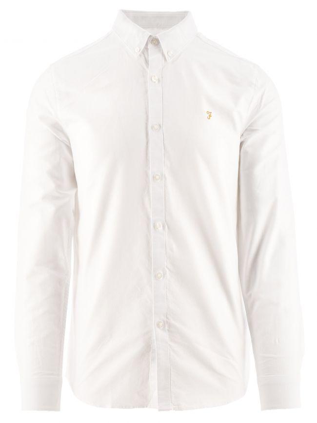White Brewer Slim Long Sleeved Oxford Shirt