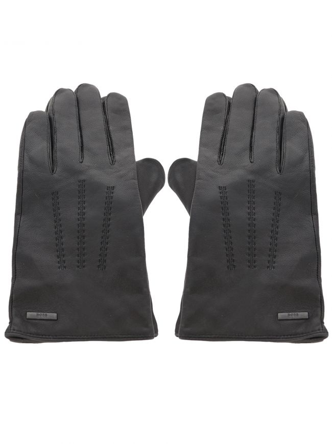 Grey Piped Contrast Hardware Badge Gloves