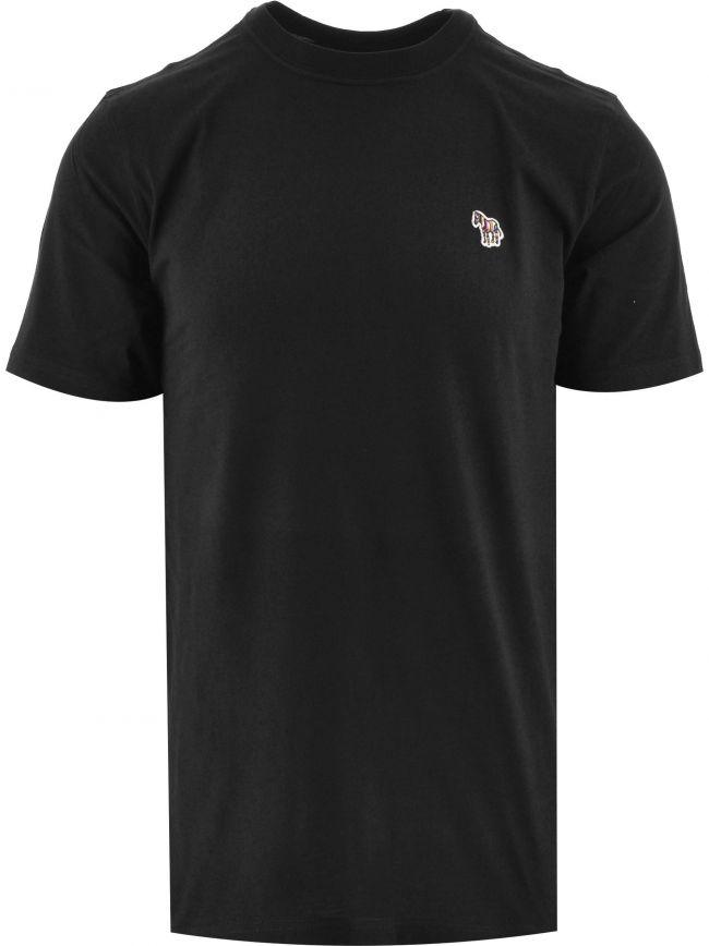 Black Regular Short Sleeve Zebra T Shirt