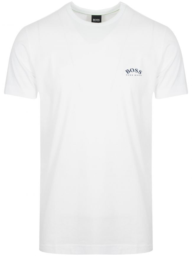 White & Navy Tee Curved T-Shirt