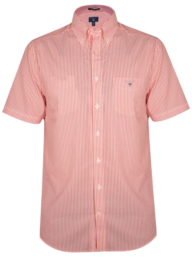 Coral Striped Regular Short-Sleeve Shirt