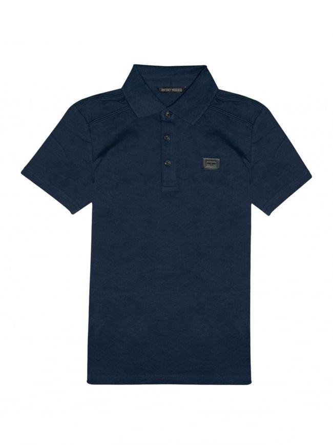 Navy Blue Plaque Short Sleeve Polo Shirt