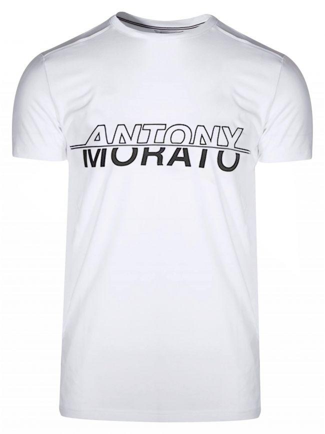 White & Black Print Logo T-Shirt