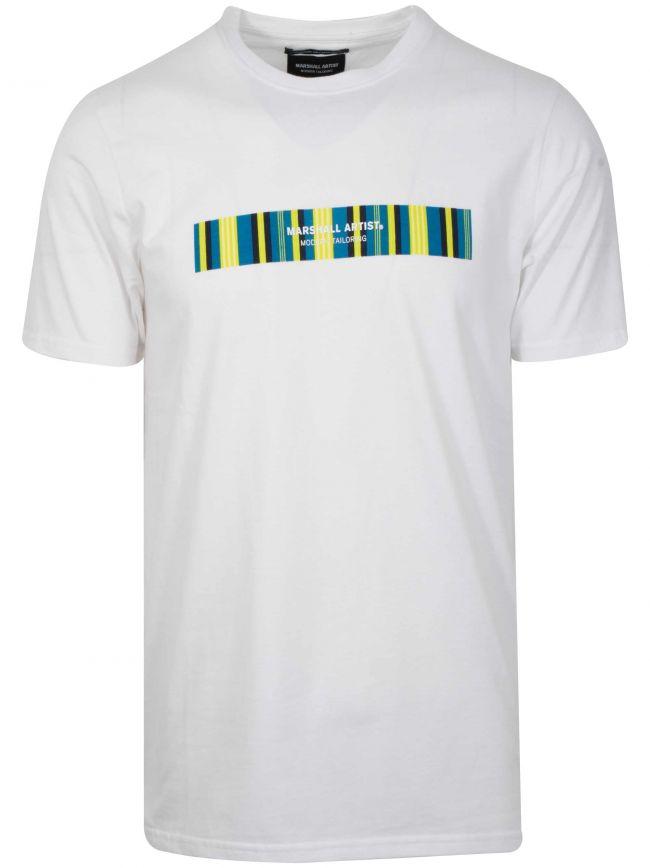 White Vert Stripe Logo T-Shirt
