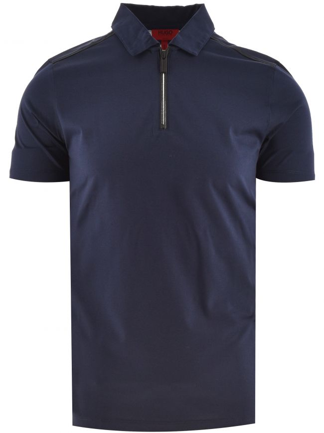 Navy Dilvio Zip Neck Polo Shirt