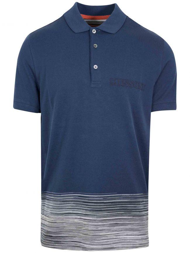Navy Half Stripe Polo Shirt