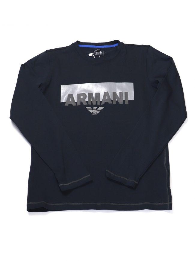 Armani Kids Navy Logo Crew Neck Long Sleeve T-Shirt